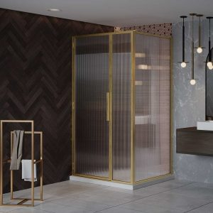 LH Shower Door with Inline Panel (Fluted Glass)