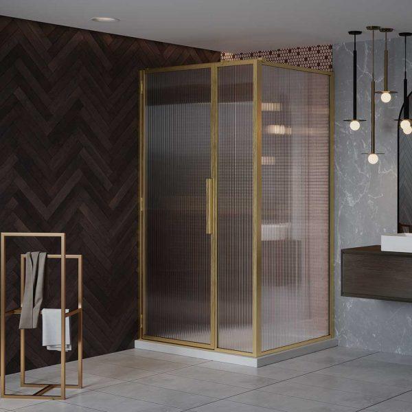 LH Shower Door with Inline Panel (Fluted Glass)