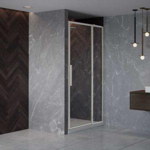 RH Shower Door with Inline Panel (Fluted Glass)