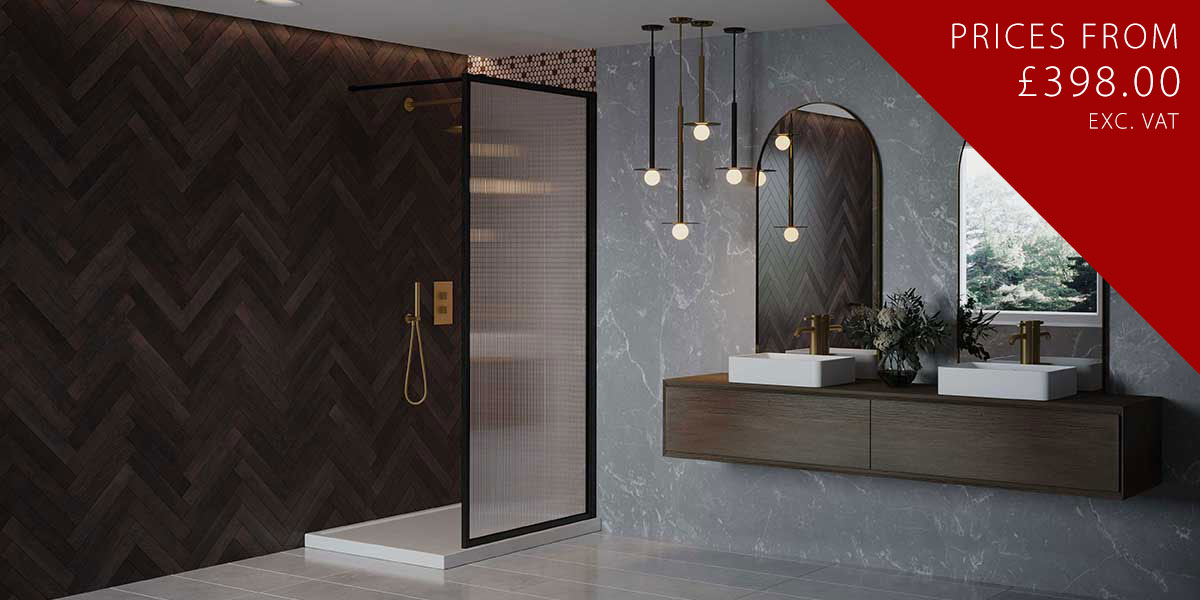 Black Fixed Shower Panel & Support Bar