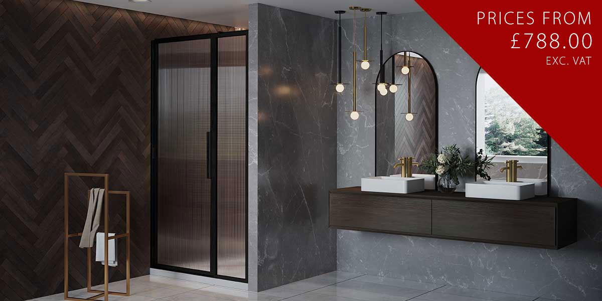 LH Black Shower Door with Inline Panel