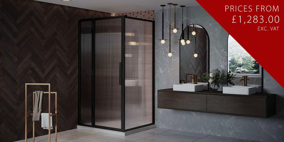 LH Black Shower Door Hinged to Inline + RH Return Panel