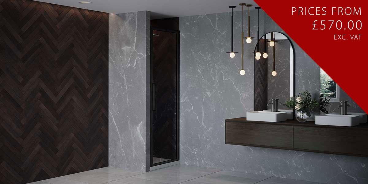 RH Black Shower Door