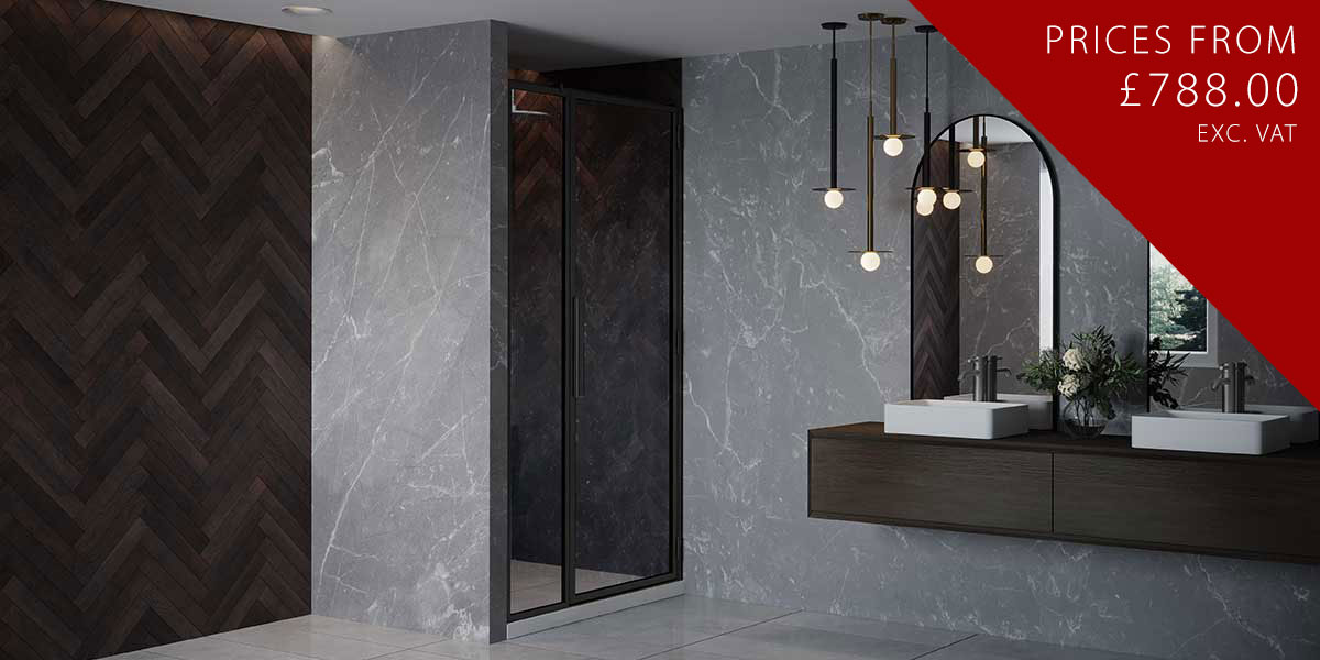 RH Black Shower Door with Inline Panel