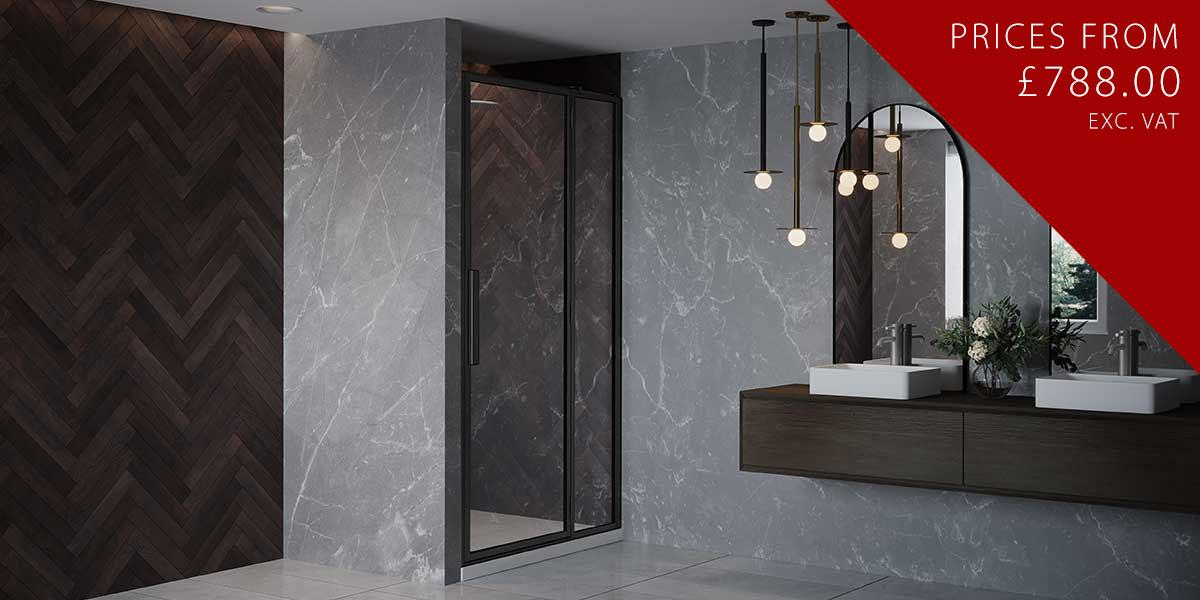 RH Black Shower Door Hinged to Inline Panel