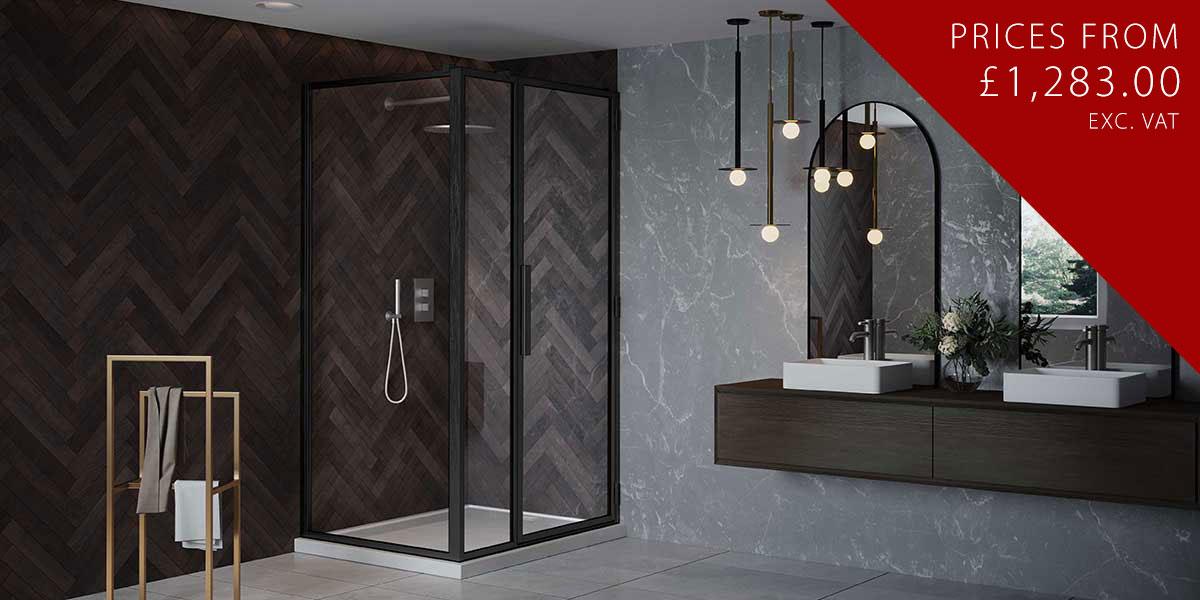 RH Black Shower Door with Inline + LH Return Panel