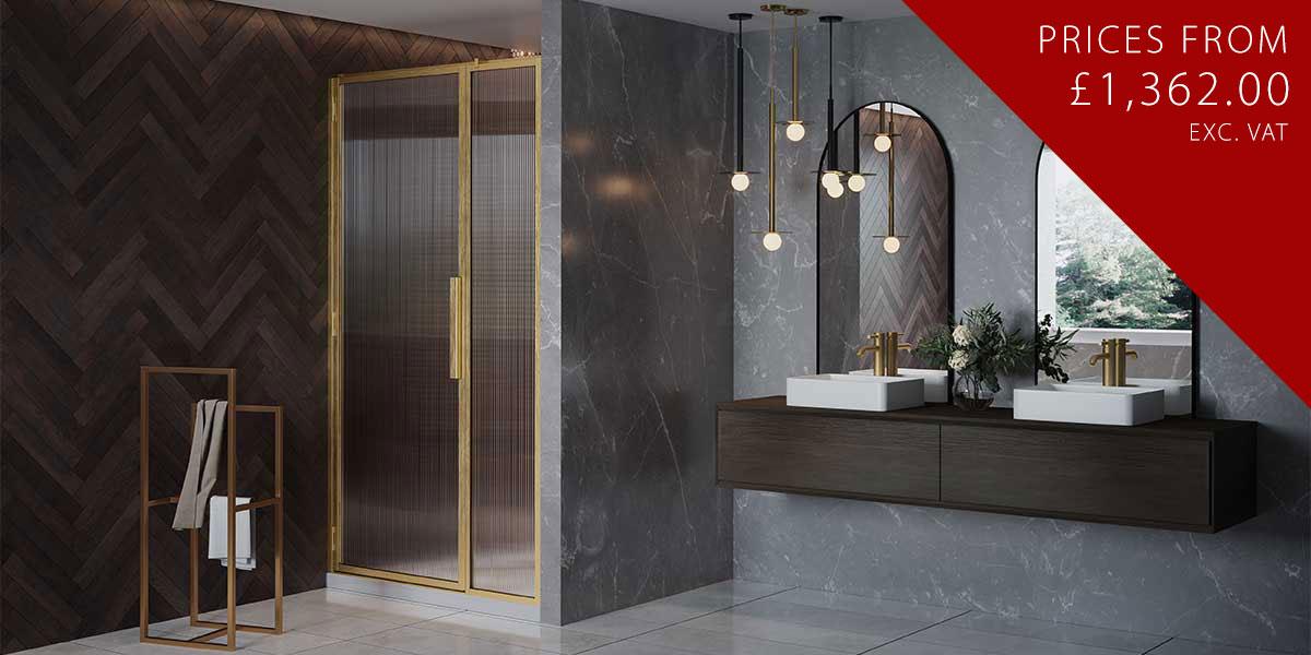 LH Shower Door with Inline Panel