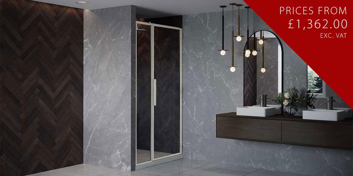 RH Shower Door with Inline Panel