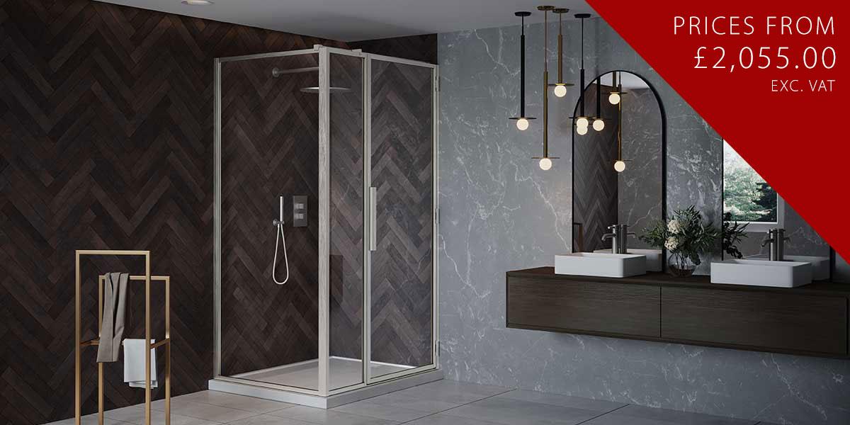 RH Shower Door with Inline + LH Return Panel