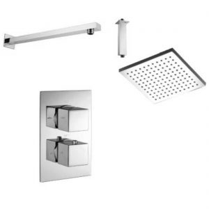 WRAS approved Shower Set Single Outlet Thermostatic Shower Mixer, 200mm square shower rose, ceiling or wall arm option