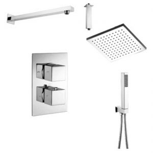 WRAS Approved Shower Set Two Outlet Thermostatic Shower Mixer Handshower Set 200mm square shower rose ceiling or wall arm option