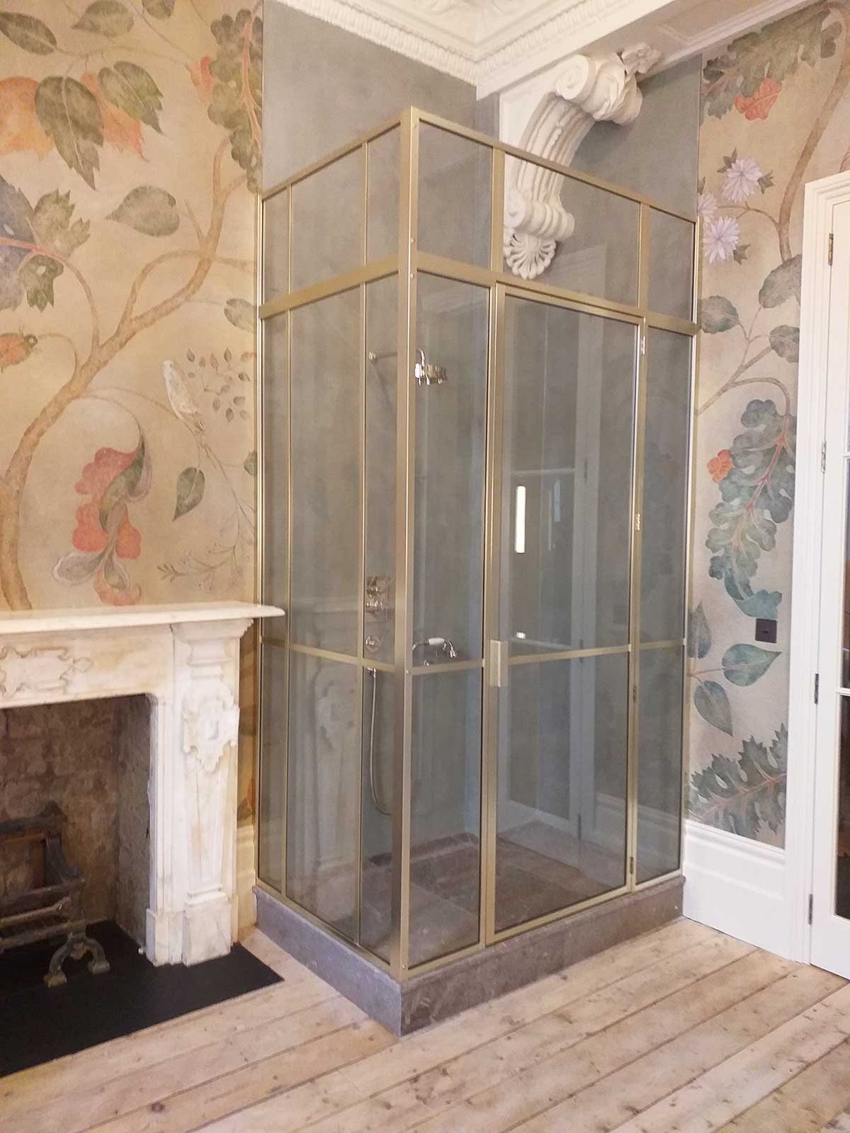 Bespoke brushed nickel shower cubical with transom from our precious metal range